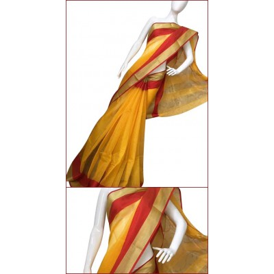 Priya Sarees Yellow Cotton Manipuri doriya Saree