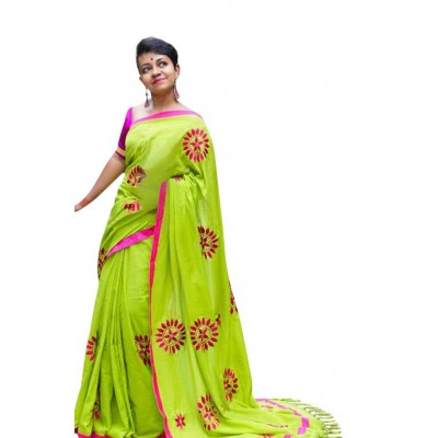 Priya Sarees Green Cotton Applique Worked Pure Handloom Saree