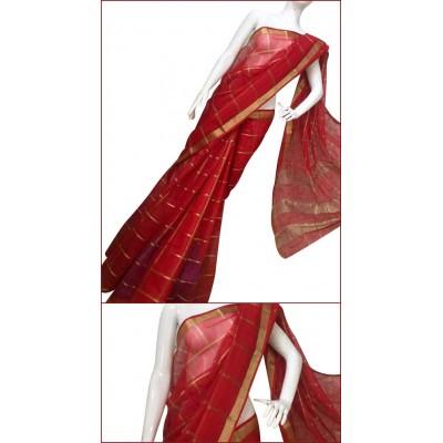 Priya Sarees Red Cotton Manipuri doriya Saree