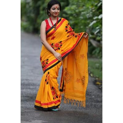 Priya Sarees Orange Cotton Applique Worked Pure Handloom Saree