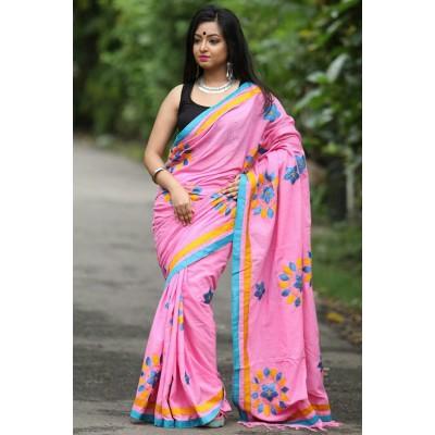 Priya Sarees Pink Cotton Applique Worked Pure Handloom Saree