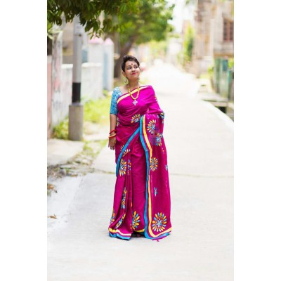 Priya Sarees Magenta Cotton Applique Worked Pure Handloom Saree