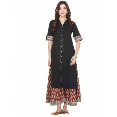 js fashion Black Rayon Printed Slit Kurta