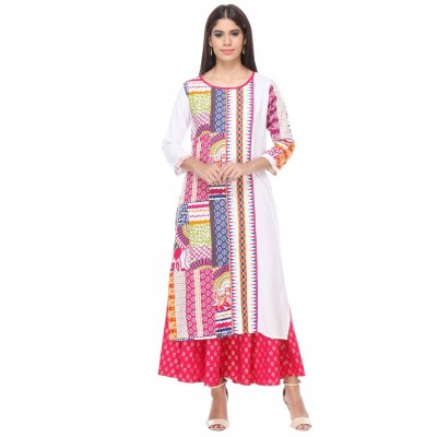 js fashion White Rayon Printed Regular Kurta