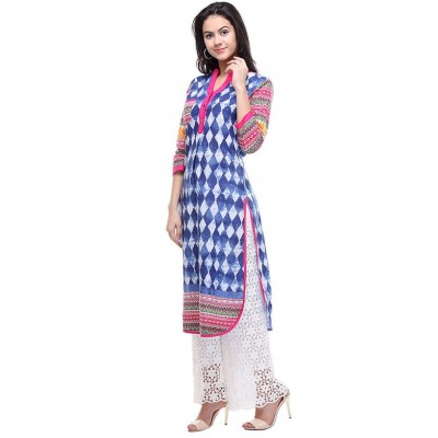 js fashion Blue Rayon Printed Straight Kurta