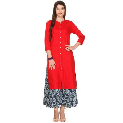 js fashion Orange Rayon Printed Slit Kurta