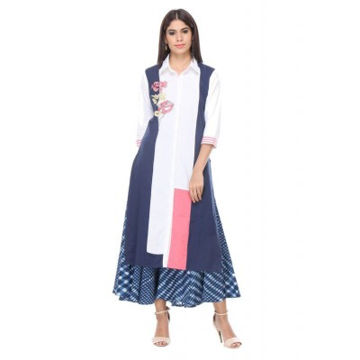 js fashion Blue Rayon Printed Slit Kurta