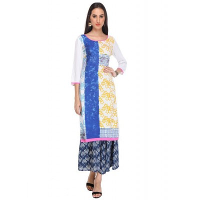 js fashion White Rayon Printed Straight Kurta