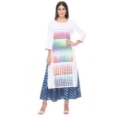 js fashion White Rayon Printed Regular Kurta