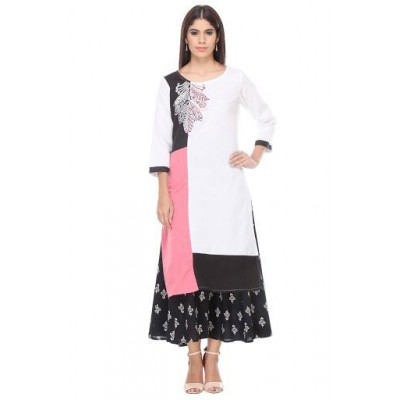 js fashion White Rayon Printed Slit Kurta