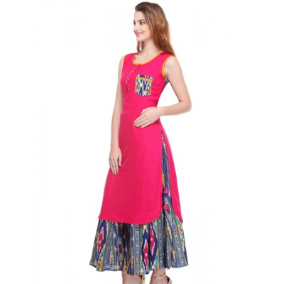js fashion Pink Rayon Printed Straight Kurta