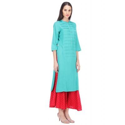 js fashion Blue Rayon Printed Straight Kurta
