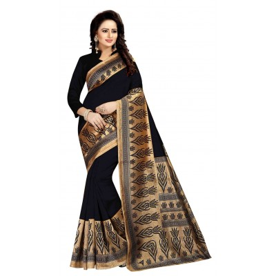 js fashion Black Art Silk Printed Saree