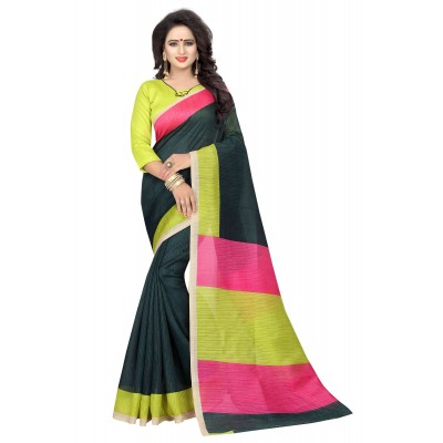 js fashion Black Banglori Silk Printed Saree