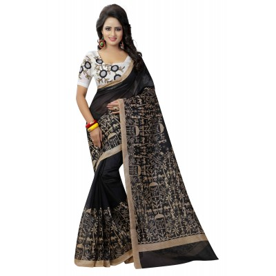 js fashion Black Bhagalpuri Embroidered Saree