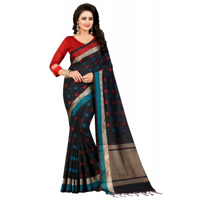 js fashion Black Cotton Silk Jacquard designed Saree