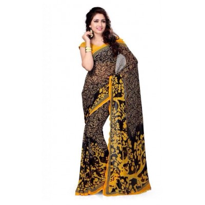 js fashion Black Georgette Printed Saree
