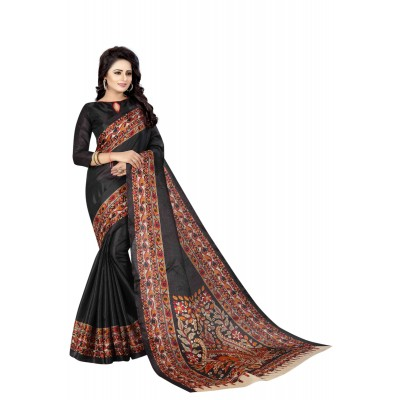 js fashion Black Silk Printed Saree