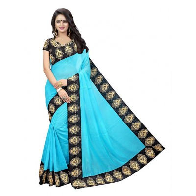 js fashion Blue Banglori Silk Printed Saree