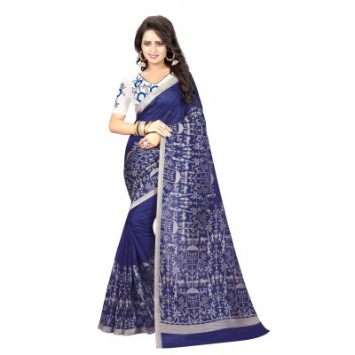 js fashion Blue Bhagalpuri Embroidered Saree