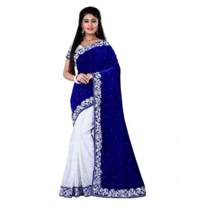 js fashion Blue Brasso Embroidered Saree