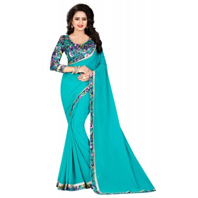 js fashion Blue Chiffon Printed Saree