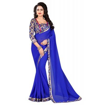 js fashion Blue Chiffon Printed Saree
