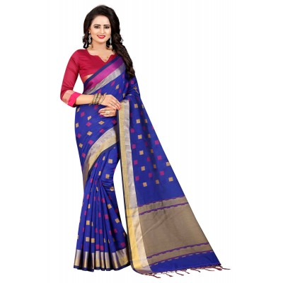 js fashion Blue Cotton Silk Jacquard designed Saree