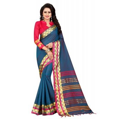 js fashion Blue Cotton Silk Jacquard designed Saree