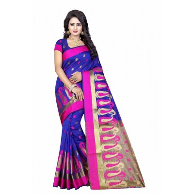 js fashion Blue Cotton Silk Printed Saree