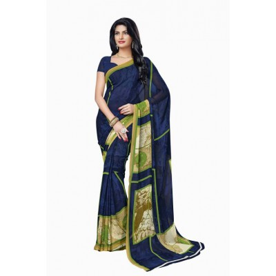 js fashion Blue Georgette Printed Saree