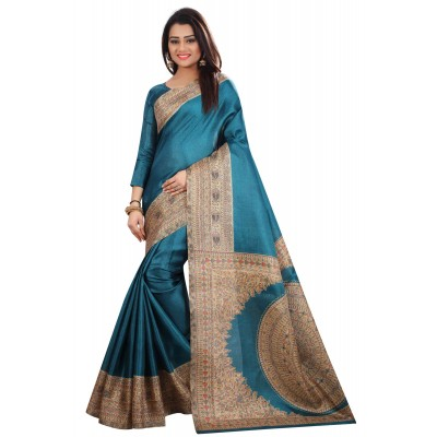 js fashion Blue Silk Printed Saree