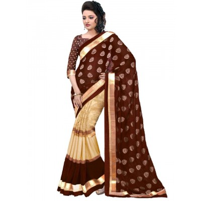 js fashion Brown Bhagalpuri Printed Saree