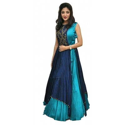 js fashion Blue Taffeta Silk Embroidered Gown