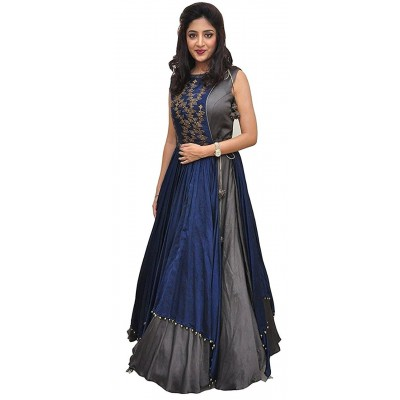 js fashion Grey Taffeta Silk Embroidered Gown
