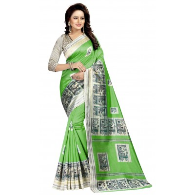js fashion Green Art Silk Printed Saree