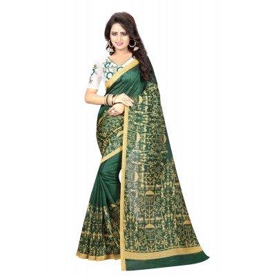 js fashion Green Bhagalpuri Embroidered Saree