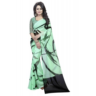 js fashion Green Georgette Printed Saree