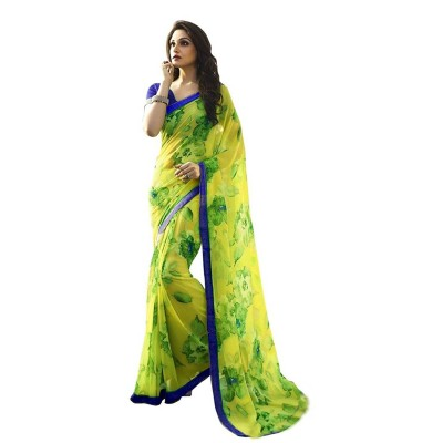 js fashion Green Georgette Printed Saree