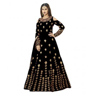 js fashion Black Banglori Silk Embroidered Gown