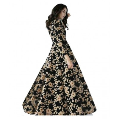 js fashion Black Net Embroidered Gown