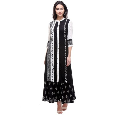 js fashion Black Rayon Printed Straight Kurta