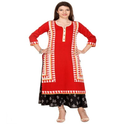 js fashion Red Rayon Printed Straight Kurta