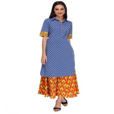 js fashion Blue Rayon Printed Regular Kurta