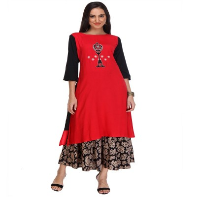 js fashion Red Rayon Printed Slit Kurta