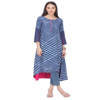 js fashion Blue Rayon Printed Tipsy Topsy Kurta