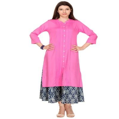 js fashion Pink Rayon Printed Slit Kurta
