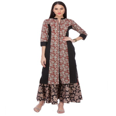js fashion Brown Rayon Printed Slit Kurta