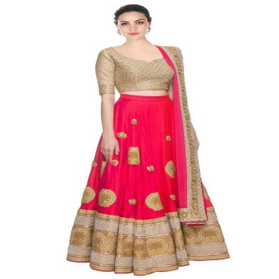 js fashion Pink Banglori Silk Embroidered Un-Stitched Lehenga Choli
