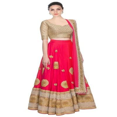 js fashion Pink Banglori Silk Embroidered Un-Stitched Lehenga Choli